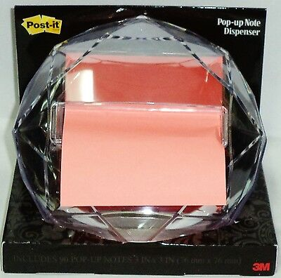 """3M POST IT Weighted Pop Up  Dispenser For 3."""" X 3."""" Notes Diamond Shape"""