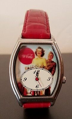 Coca Cola Collectible Watch - Red Leather Band - Needs Battery
