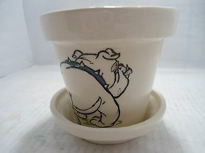Bulldog Collectible:glazed Ceramic Flowerpot With Bulldog On Side Made In 1976