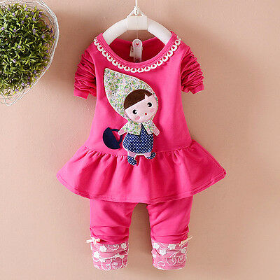 Kids Baby clothes baby girls clothes outfits top+pants little girl rose 18-24M