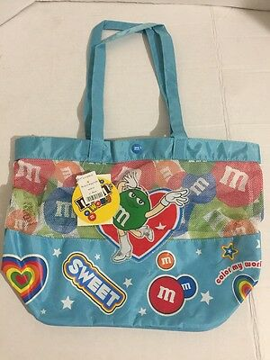 M&M Vinyl Mesh Tote Beach Bag Light Blue NWT