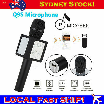 Handheld Original MicGeek Q9S Wireless Microphone KTVBlack Home Karaoke 60-20KHz