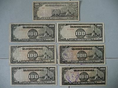 Asia Japan Lot collection 100 Pesos & 500 pesos Japanese Government WWII