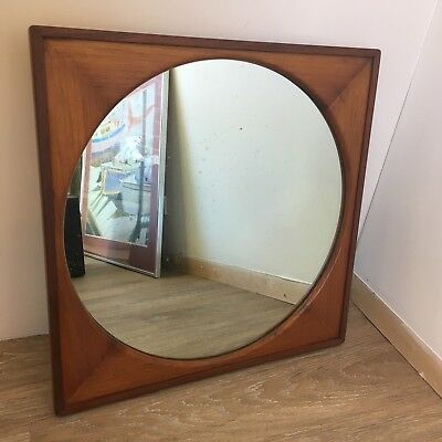 Vintage Art Deco Solid Wood Round Mirror In Square Frame.