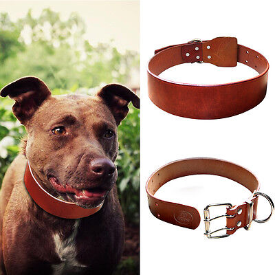 Adjustable Soft Genuine Leather Dog Collars for Large Dogs Pitbull Brown L-XXL