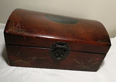 Antique Chinese 19th hand painted leather wooden brass suitcase