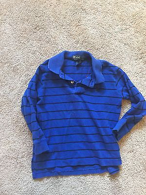GUC Toddler Boys Blue Striped POLO BY RALPH LAUREN Long Sleeve Shirt Size 2T