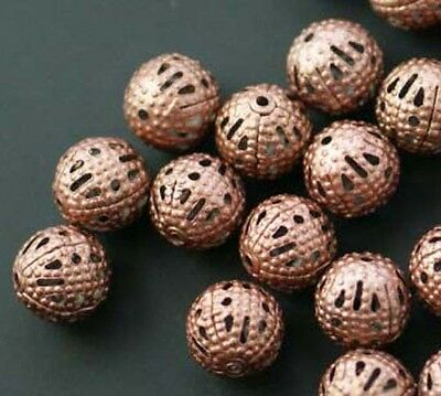 200pcs Round Filigree Spacer Beads Copper Plated For Handmade DIY Jewelry 4mm