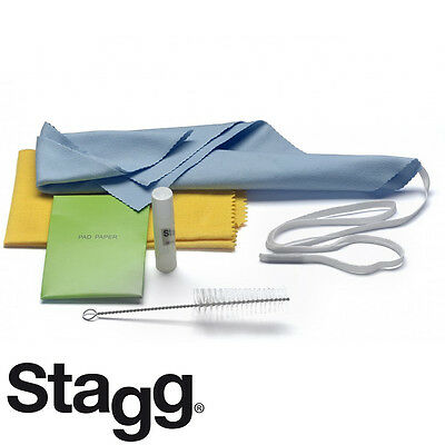 Stagg Saxophone Cleaning Care Kit w/ Swab, Mouthpiece Brush, Cork Grease, Cloth
