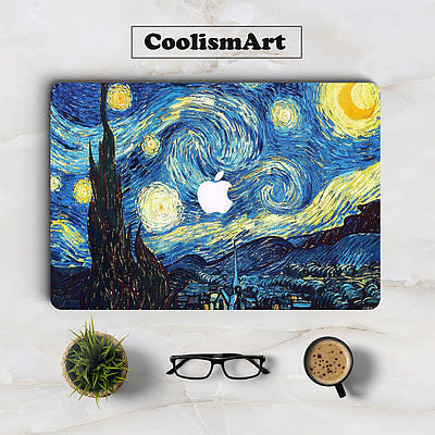 Beneath Van Gogh's Starry Sky Oil Painting Laptop Sticker for Apple Macbook
