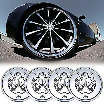4pcs 55mm Wolf Head Wheel Center Hub Cap Emblem Badge Sticker Decal