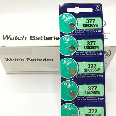 1.55V Silver Oxide Button-type Watch Batteries For Sony 377 SR626SW 5pcs/card