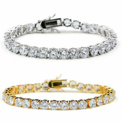 1PCS Fashion Men's Gold Silver Iced Out Tennis Bling Simulated Diamond Bracelet