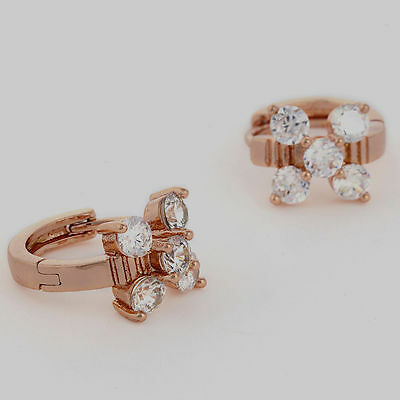 ---10K Rose Gold Filled GF CZ Flower Hoop Earrings, Earings 9mm ID 8mm Wide