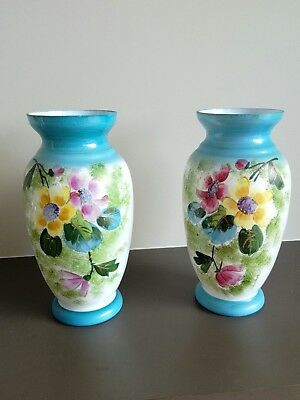 Pair of milk glass vases