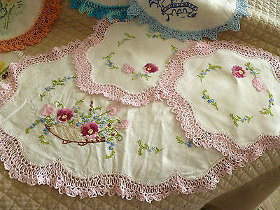 15~Vintage~Hand~Embroidered~Doilies