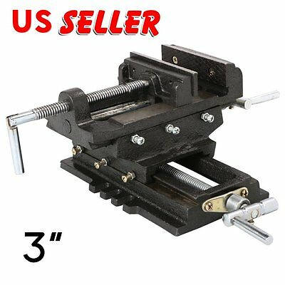 "3"" Cross Drill Press Vise X-Y Clamp Machine Slide Metal Milling 2 Way HD AS"