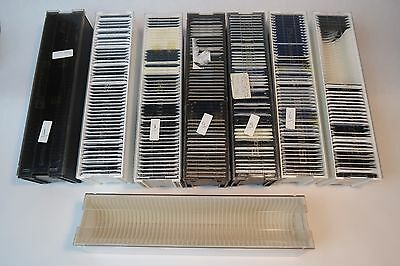 8x 35 MM SLIDE PROJECTOR MAGAZINES VIEWING TRAY + 270x SLIDE PLASTIC MOUNTS
