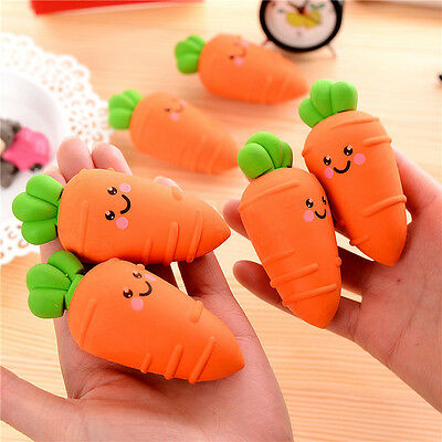 Cartoon Carrot Pencil Eraser Rubber Office Stationery Gift Toy School Students