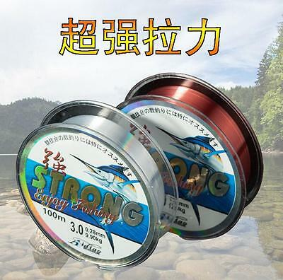 Strong-Fishing-Line-Japanese-100m-Nylon-Transparent-Fluorocarbon-Tackle-Line