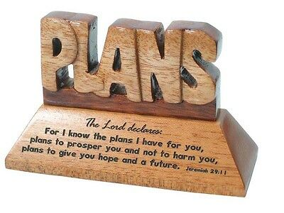 Christian wood mahogany For I know the plans Jeremiah desktop ornament gift
