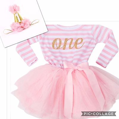 Girls First 1st Birthday Cake Smash Outfit Tutu Skirt Dress Baby Pink & Hat Set
