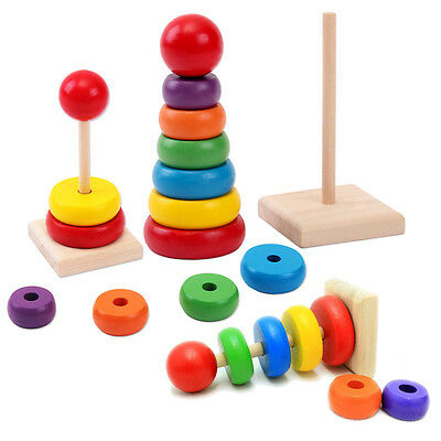 1Set Building Blocks Rainbow Tower Ring Wooden Toy Baby Child Children Stacking