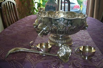 Heavily Embossed EPNS Punch Bowl