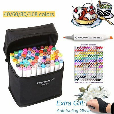 40/60/80/168 Color Touch New Markers Pen Set Double Headed Art Marker Glove Gift