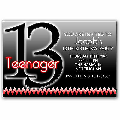 10 Personalised BOYS GIRLS Teenager 13th Birthday Party Invitations Q76