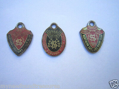 3 x NORTHERN SUBURBS RUGBY UNION MEMBER TAGS / BADGES