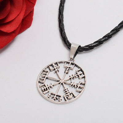 Viking odin's Symbol of Norse Runic Pendant Necklace Runes Compass Pattern