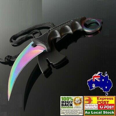 Outdoor  KARAMBIT NECK KNIFE Survival Hunting Fixed fade colourful Blade Sheath