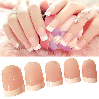 24 Pcs Capsules Extension Rond Faux Ongles French Demi Gel UV Manucure Nail Art