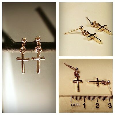 Brand New 18k Rose Gold Plated Solid Cross Dangle Earrings