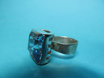 830er SILBER RING im ART DECO gr.AQUAMARIN TOP DESIGN