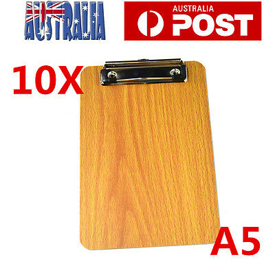 10pcs A5 Wooden Clipboard Hardboard Menu Clip Office Restaurant Writing Board