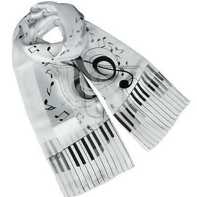 Ladies White Self stripe Chiffon Scarf with Large Musical Note and Piano Keys
