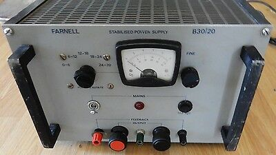 Farnell B30/20 Stabilised Bench Power Supply. 0 - 30V To 20 Amps. Working
