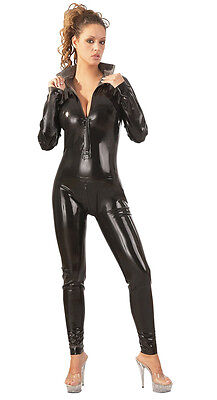 The Latex Collection - schwarzer taillierter Latex Catsuit mit Stehkragen
