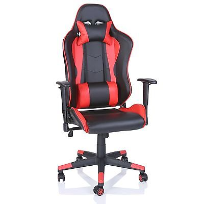 Office Desk Chair PU Leather Executive High Back Gaming Racing Swivel Chair Red