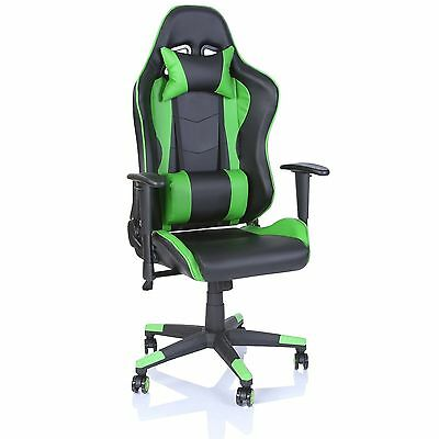 Office Desk Chair PU Leather Executive Gaming Racing Swivel Light Green