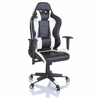 Office Desk Chair PU Leather Executive High Back Gaming Racing Swivel White