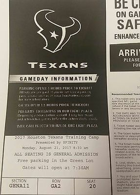 Texans Training Camp Tickets 8/21