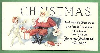 1945 Christmas Blotter FANNY FARMER CANDIES Angry Child & Santa Claus
