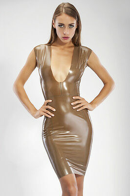 Latex Rubber Gummi Sexy Knee-Length Anatomical Dress With Decollete Latex Wear