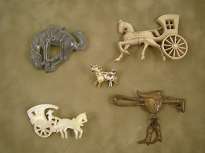 Lot of (5) Vintage Equestrian Horse Themed Pins - Rodeo, Horse & Buggy, English