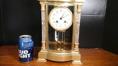 French Crystal Regulator Clock  With Cut Glass Columns, Ca.1900