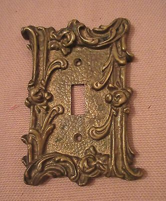 rare antique ornate thick solid brass light switch plate electric outlet cover