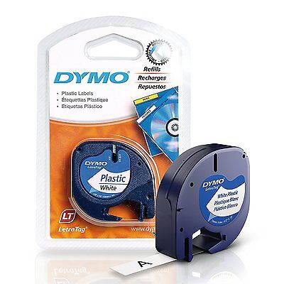 DYMO LetraTag Labeling Tape for LetraTag Label Makers, Black print on White W x